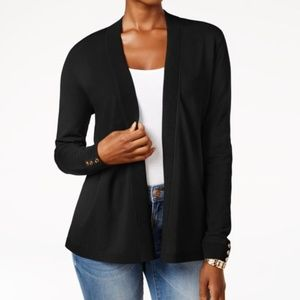 Charter Club Open-Front Cardigan, Black, Size: L